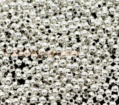 Silver Colour Smooth Round Spacers Beads 2mm (100)